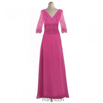Pink Long Prom Dress, Merlot Sleeve..