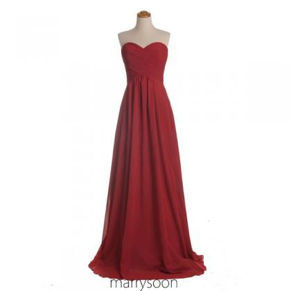 Red Sweetheart Neck Chiffon Bridesm..