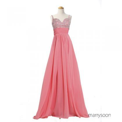 Gorgeous Coral Pink Beaded Chiffon ..