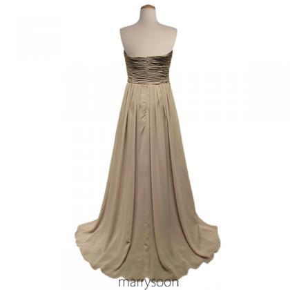 Earth Colored Pleated Chiffon Bride..