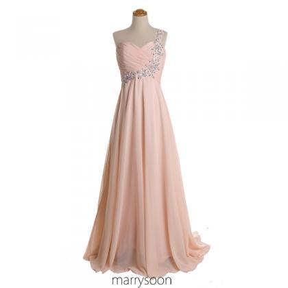 Rose Colored Chiffon One Shoulder P..