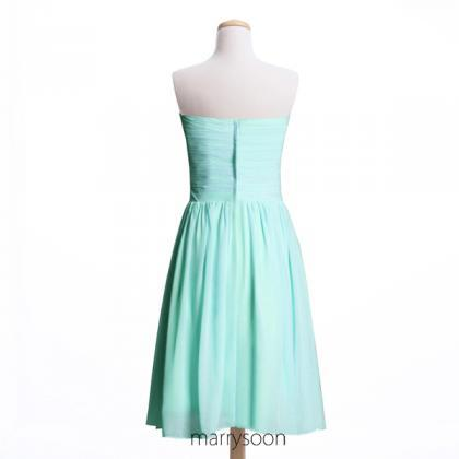 Mint Blue Chiffon Short Bridesmaid ..