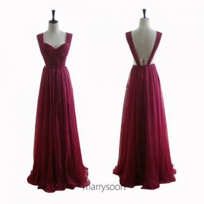 Wine Colored Chiffon Open Back Prom..