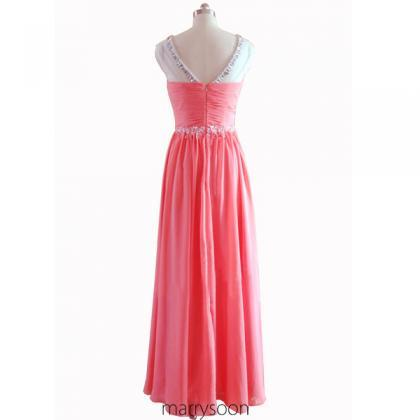 Coral Pink Sequined Illusion Neck C..
