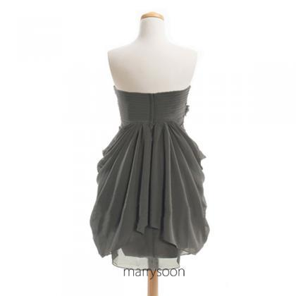 Charcoal Gray Sweetheart Neck Short..