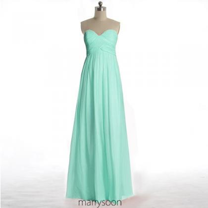 Mint Green Long Chiffon Bridesmaid ..