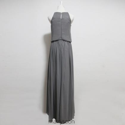 Charcoal Gray Long Chiffon Slim Str..