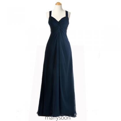 Dark Navy Sequined Open Back Chiffo..