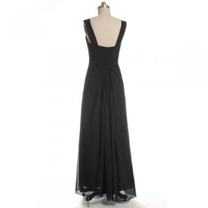 Black Long Chiffon V-neck Bridesmai..