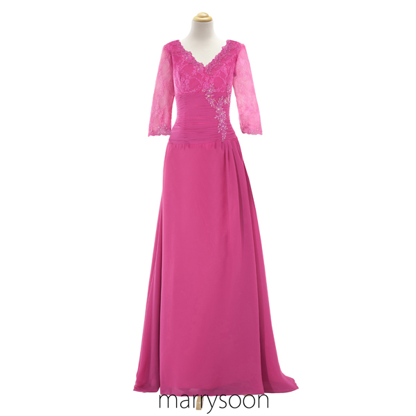 Pink Long Prom Dress, Merlot Sleeves V-neck Mother's Dress, Lace And Chiffon Maid of Honor Dress MD013