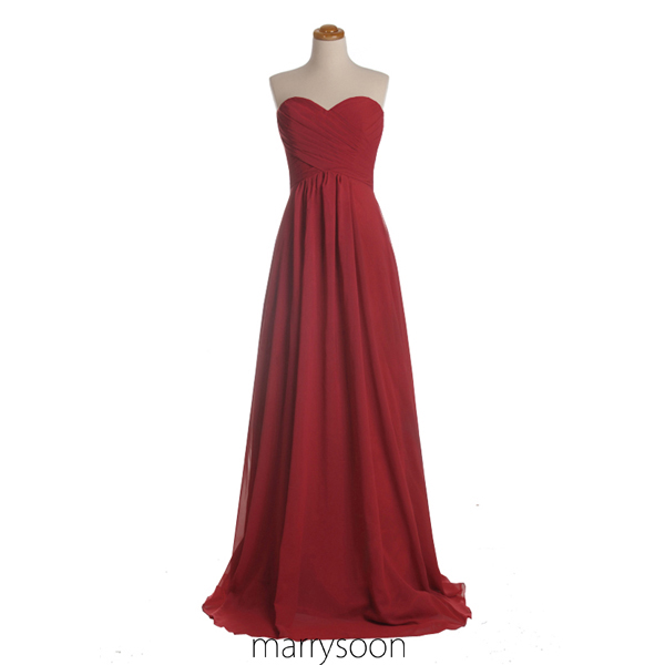 Red Sweetheart Neck Chiffon Bridesmaid Dress, A-line Long Strapless Bridesmaid Gown, Affordable Elegant Bridesmaid Dress MD016
