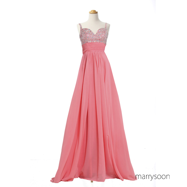 Gorgeous Coral Pink Beaded Chiffon Prom Dresses, Low V-neck Slim Straps Long Prom Gowns, A-line Empire Waist Prom Dresses 2016 MD020