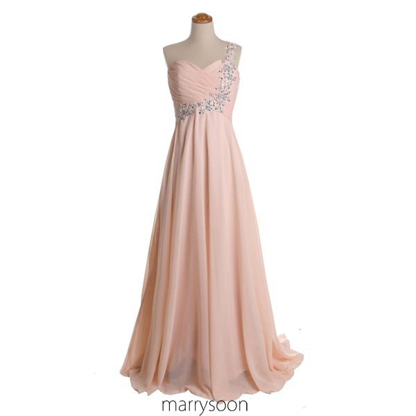 a673cb26427fe Rose Colored Chiffon One Shoulder Prom Dresses, Pastel Pink Single Shoulder  Mother's Dress, Peach Maid Of Honor's Dress MD027