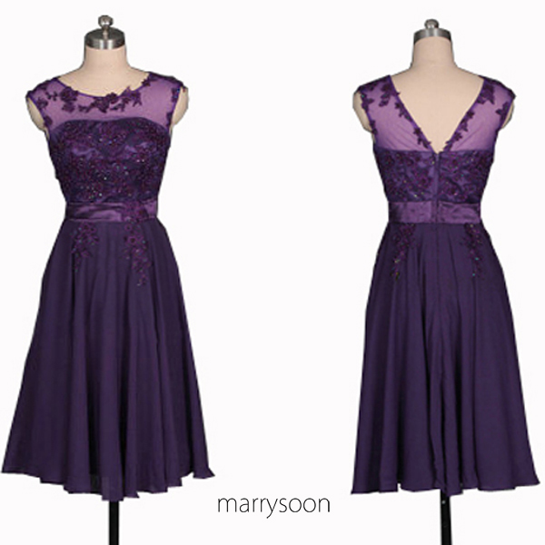 Royal Purple Bateau Neck Lace And Chiffon Short Bridesmaid Dresses, Dark Purple Boat Neck Knee Length Prom Gown MD030