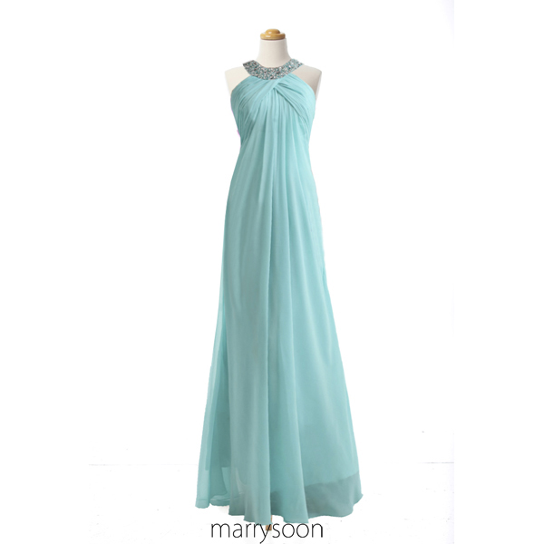 Pale Sky Blue Beaded Round Neck Chiffon Prom Dresses, Halter Neck Pastel Blue Empire Waist Long Prom Gowns MD032