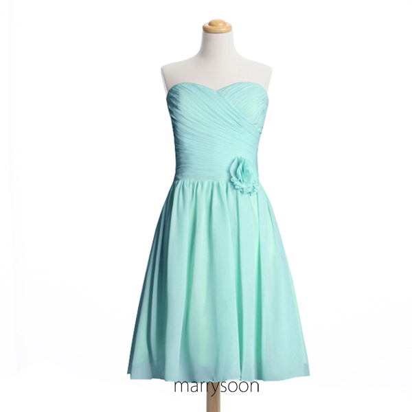 Mint Blue Chiffon Short Bridesmaid Dresses, Pastel Green Colored Sweetheart Neck Knee Length Bridesmaid Gown MD034
