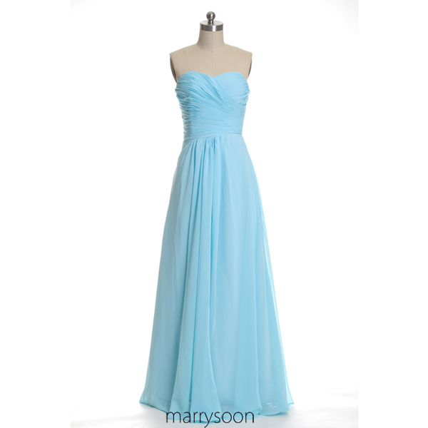Blue Jay Pleated Long Chiffon Bridesmaid Dresses, Pastel Blue A-line ...