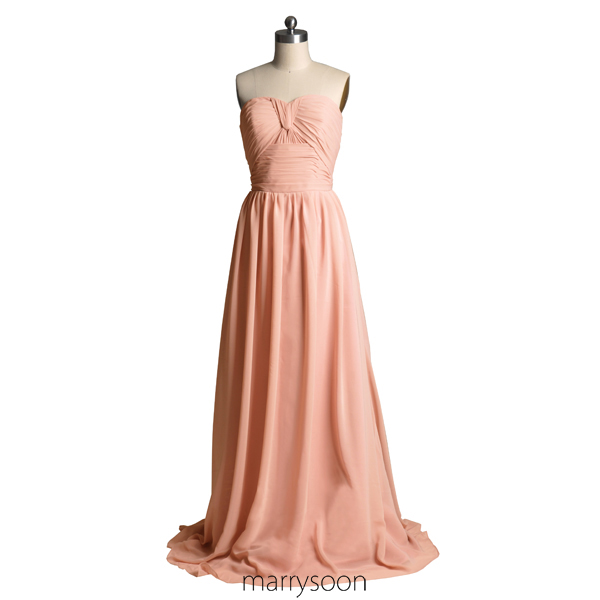 Rose Colored Strapless Chiffon Bridesmaid Dresses Pastel Pink A