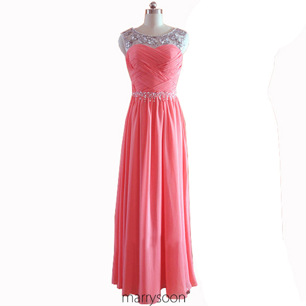 Coral Pink Sequined Illusion Neck Chiffon Prom Dresses 2016, Gorgeous Beaded Bateau Neck Long Evening Dresses MD065