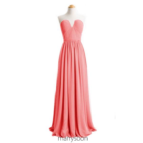 Coral Pink Long Chiffon Bridesmaid Dresses, Full Length Coral Colored A-line Sweetheart Neck Bridesmaid Gown MD089