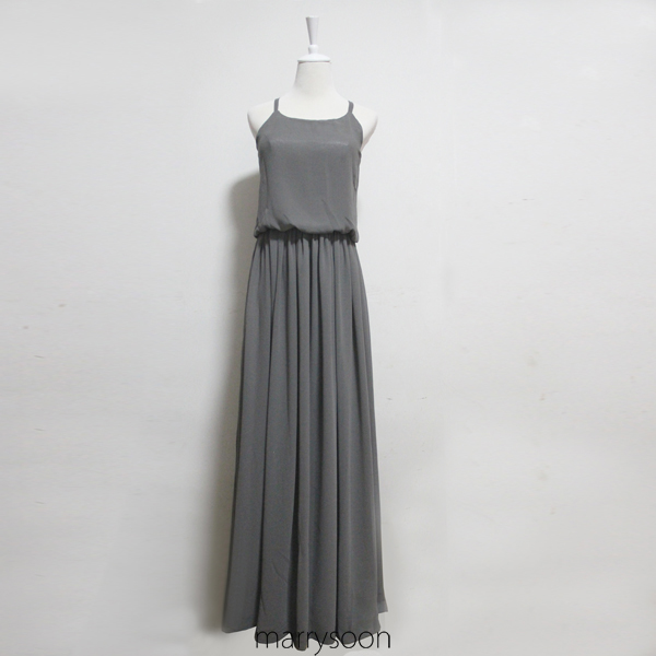 Charcoal Gray Long Chiffon Slim Straps Boho Style Bridesmaid Dresses, Full Length Dark Gray A-line Bridesmaid Gown MD136