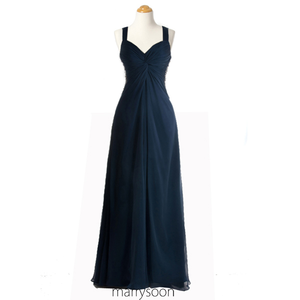 Dark Navy Sequined Open Back Chiffon Prom Dresses 2016, Gorgeous Beaded Backless Indigo Long Evening Dresses MD137