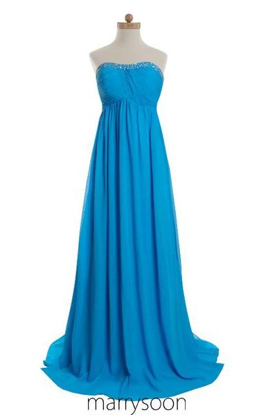 Dodger Blue Sweetheart Neck Long Bridesmaid Dress, Full Length Prom Dress Colored Blue MD001