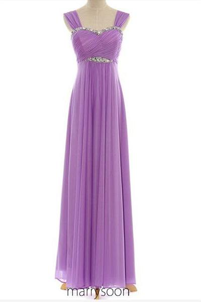 Mavue Colored Cap Sleeves Long Prom Dress, Light Purple Beaded Prom Dresses UK, Empire Waist Chiffon Bridesmaid Dresses MD012