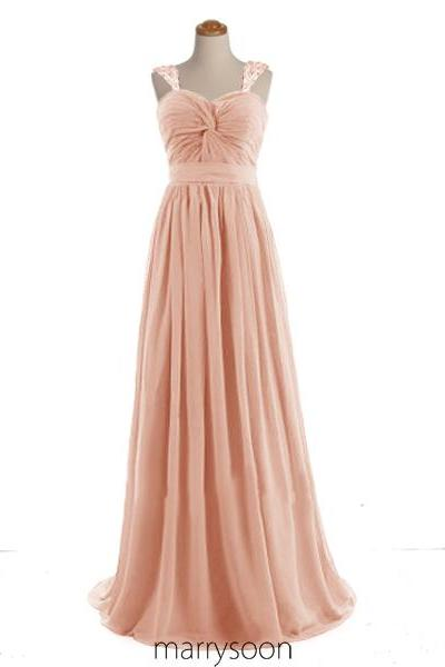Rose Beaded Cap Sleeves Chiffon Bridesmaid Dress, Beaded Peach Prom Dresses 2016, Affordable Custom Made Bridesmaid Gown MD015