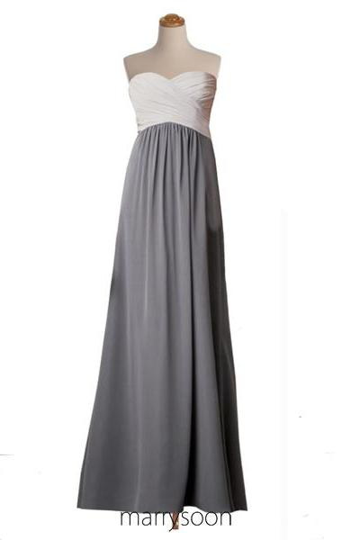 Two Tones Sweetheart Neck Chiffon Bridesmaid Dress, Off White And Gray Long Bridesmaid Dresses, Ivory Colored Bridesmaid Gown MD017