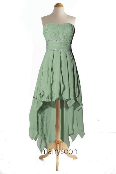 Moss Green Chiffon High Low Prom Dresses, Moss Colored Strapless Hi-lo Prom Gown, Bridesmaid Dress For Green Theme MD026
