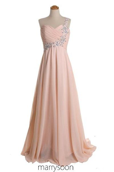 Rose Colored Chiffon One Shoulder Prom Dresses, Pastel Pink Single Shoulder Mother's Dress, Peach Maid Of Honor's Dress MD027