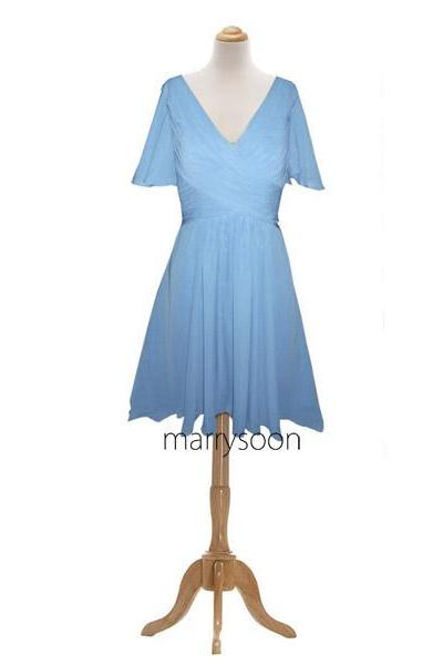 Perwinkle Chiffon Short Bridesmaid Dresses, Knee Length V-neck Bridesmaid Gown With Short Sleeves MD044