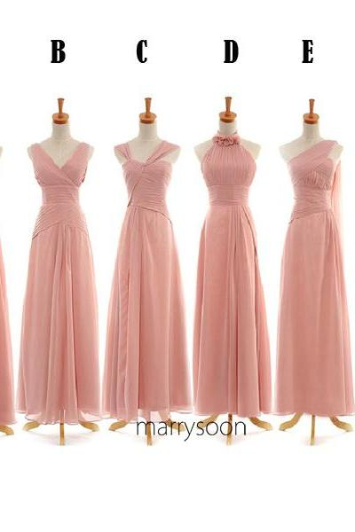 Mix and Match Pinkish Long Bridesmaid Dresses, Dusty Pink One Shoulder, Halter, Strapless, V-neck Long Bridesmaid Gown MD047