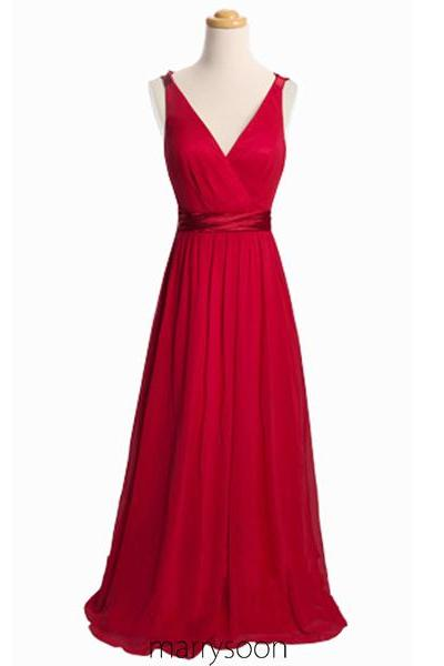 Red Long Chiffon Bridesmaid Dresses, V-neck Prom Dresses With Sweep Train, Full Length A-line Red Carpet Evening Dresses MD048