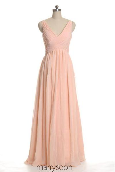 Rose Colored V-neck Chiffon Bridesmaid Dresses, Peach Pink A-line Floor Length Bridesmaid Gown, Pastel Pink Full Length Bridesmaid Dress MD050