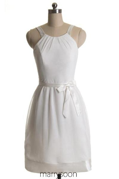 White Chiffon Short Halter Neck Bridesmaid Dresses, Knee Length Junior Bridesmaid Dress With Waistband MD051