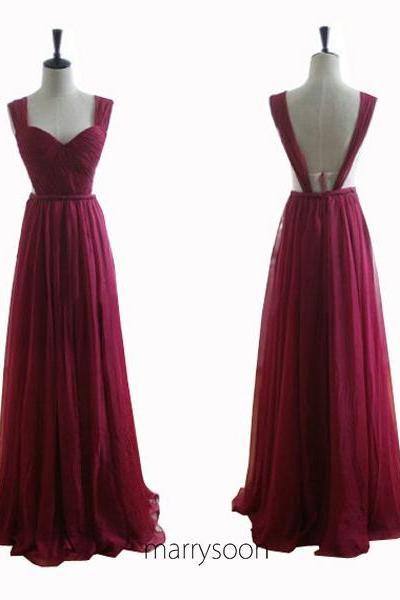 Wine Colored Chiffon Open Back Prom Dresses, Deep Claret Sweetheart Neck Cap Sleeves Backless Long Prom Dresses 2016 MD059