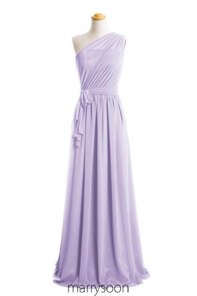 Pastel Lilac Illusion One Shoulder Chiffon Bridesmaid Dresses, Light Purple A-line Floor Length Bridesmaid Gown With Sash MD063