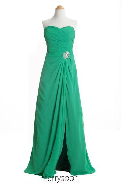 Jade Green Chiffon High Slit Prom Dresses, Sweetheart Neck Beaded Long Prom Dresses 2016 MD065