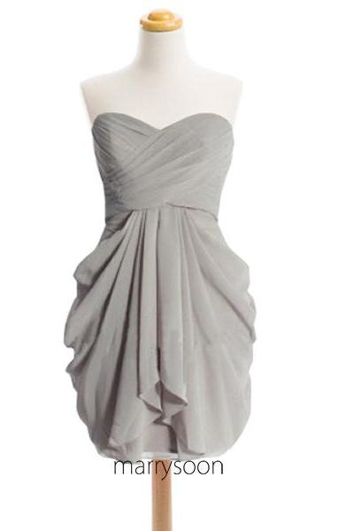 Light Gray Sweetheart Neck Short Bridesmaid Dresses, Knee Length Gray Bridesmaid Dress MD072