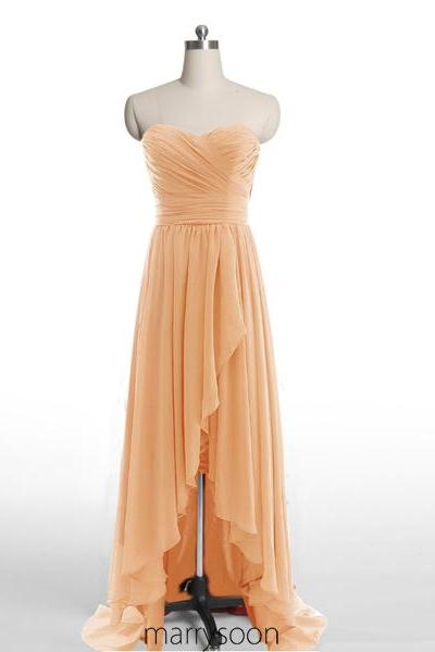 909525acecc Orange High Low Chiffon Bridesmaid Dresses