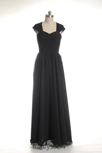 Cap Sleeves Black Chiffon Bridesmaid Dresses, Key Hole Back Black A-line Floor Length Bridesmaid Gown MD081