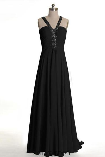 Black Sequined Halter Neck Chiffon Open Back Prom Dresses 2016, Gorgeous Beaded Halter Neck Long Bridesmaid Dresses, Black Backless Evening Dresses MD082