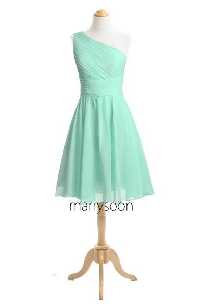 Mint One Shoulder Short Bridesmaid Dresses, Single Shoulder Knee Length Pastel Greem Bridesmaid Dress MD090