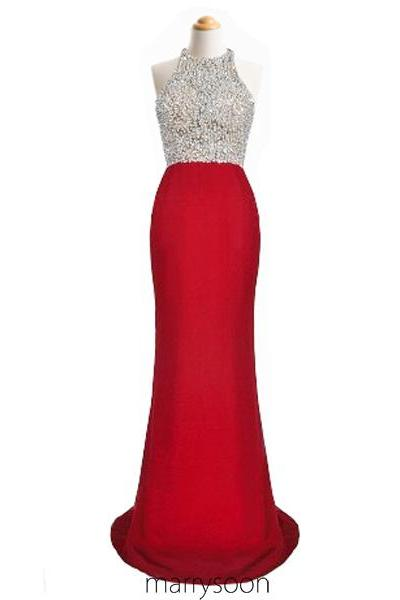 Red Sequined Illusion Mermaid Chiffon Prom Dresses 2016, Gorgeous Beaded Halter Neck Long Evening Dresses MD092