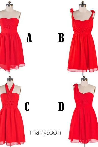 Red 4 in 1 Short Bridesmaid Dresses, Convertible Knee Length Red Bridesmaid Dress, Mix And Matched Bridesmaid Dress MD095