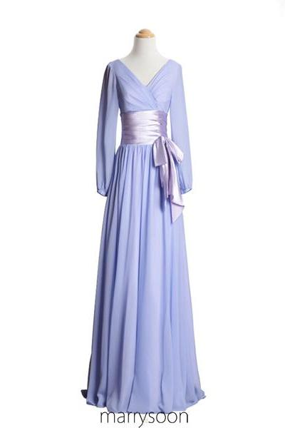 Long Sleeves Pastel Lilac Chiffon Bridesmaid Dresses, V-neck Lavender A-line Floor Length Mother's Dress,Bridesmaid Dress For Maid Of Honor MD100