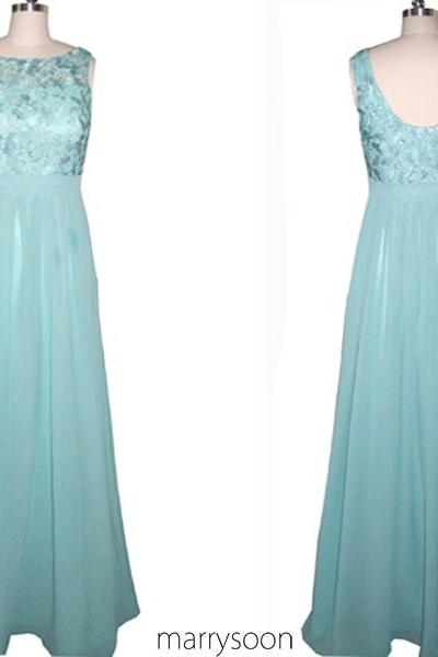 Pastel Blue Chiffon And Lace Bridesmaid Dresses 2016, Bateau Neck Light Blue Lace Long Prom Dresses MD104