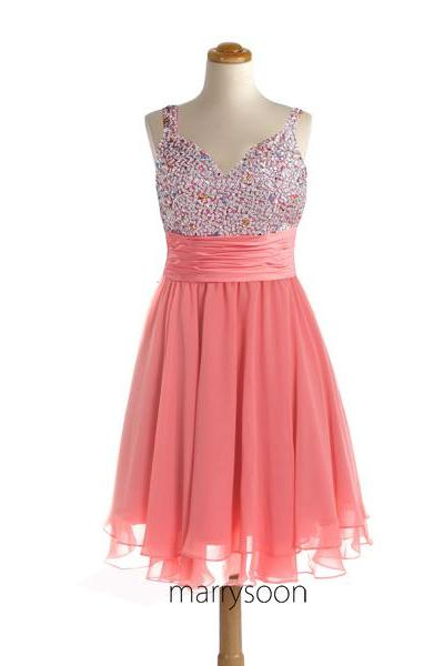 Coral Pink Sequined Short Chiffon Prom Dresses, Peach Orange Beaded Sweetheart Neck Knee Length Cocktail Dresses MD105